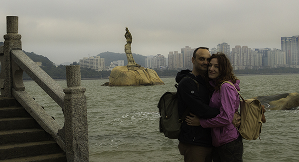 Zhouhai, China.  Fisher Girl Statue in Xianglu bay.